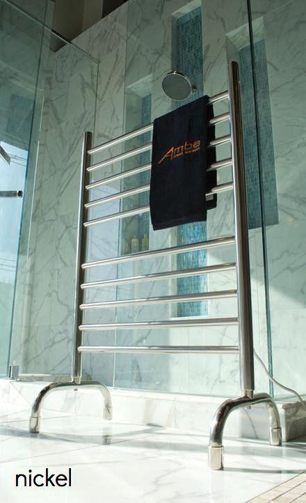 Amba Plug in Freestanding nickel electric towel warmer | Onlytowelwarmers.com