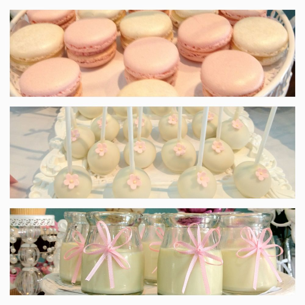 STYLED BY PRINCESS JADES CANDY BUFFETS, MACARONS BY COCO& BEAN, CAKEPOPS BY CAKEPOP SHOPPE, PANACOTTAS BY PRINCESS JADES CANDY BUFFETS.