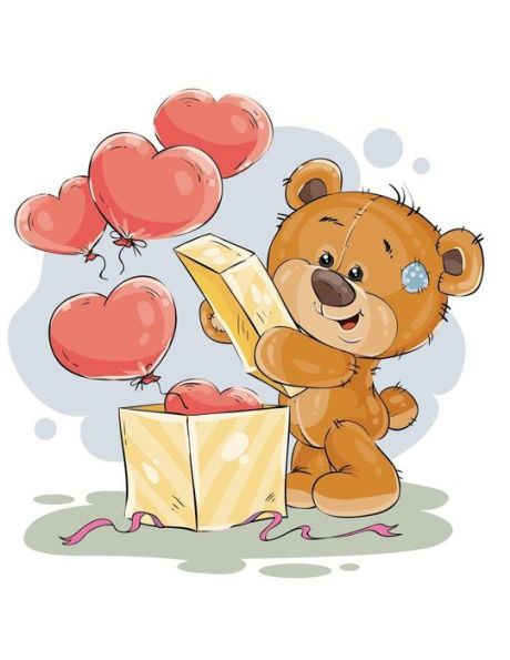 Notebook Cute Teddy Bear With Love Heart Balloons In Box Lined Notebook Large Size Letter A4 W Valentines Illustration Teddy Bear Pictures Cute Drawings
