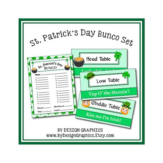 DIY Bunco Set - St. Patrick's Day Theme digital files. score card and Low, Middle, Head Table tents shamrock leprechaun game girls night out