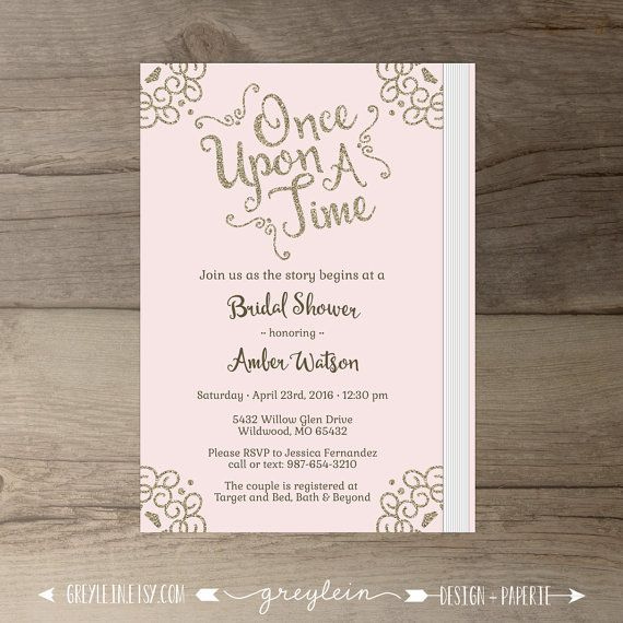 dac3494cc11 Once Upon a Time Bridal Shower Invitations • pink blush and gold glitter •  Book Theme • DIY Printable
