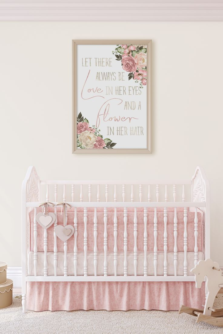 Pink Boho Nursery Wall Decor Pink Floral Nursery Art Print
