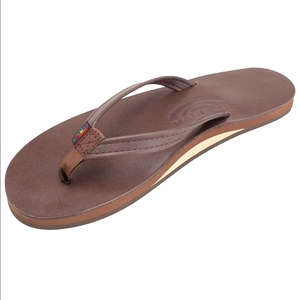 Rainbow Shoes | Rainbow Sandals Narrow Strap | Color: Brown