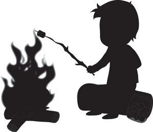Camping Clipart Image Silhouette Of A Boy Roasting Marshmallow On Rh Co Uk