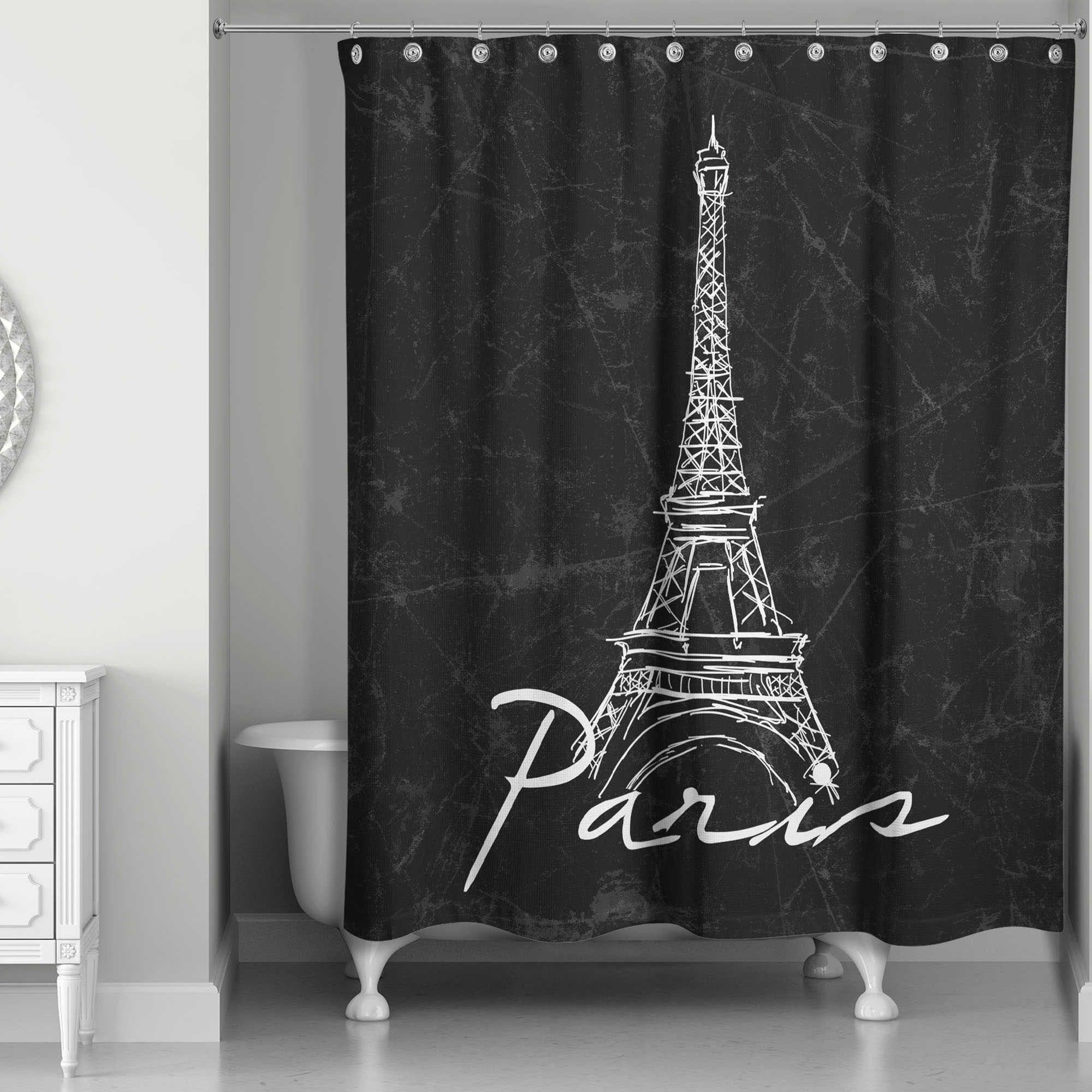 Designs Direct Eiffel Tower Sketch Shower Curtain In Black White