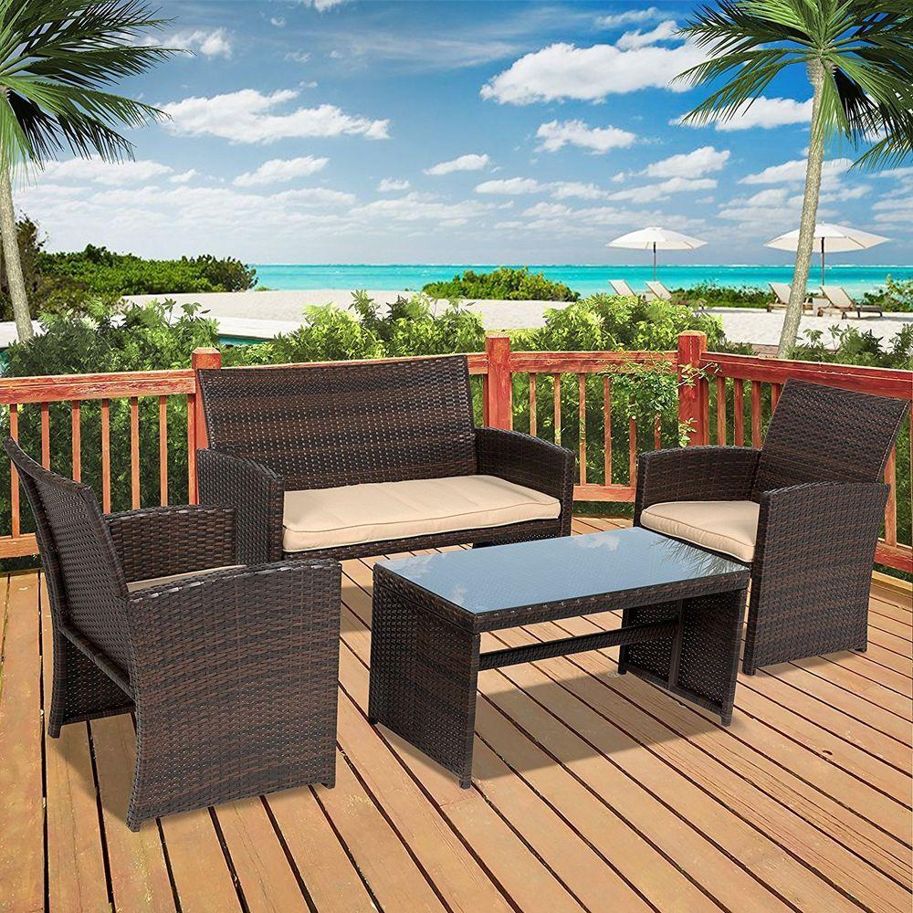 Outdoor Patio Sofa Set 4 Pcs Garden Furniture Ratan Wicker Cushion