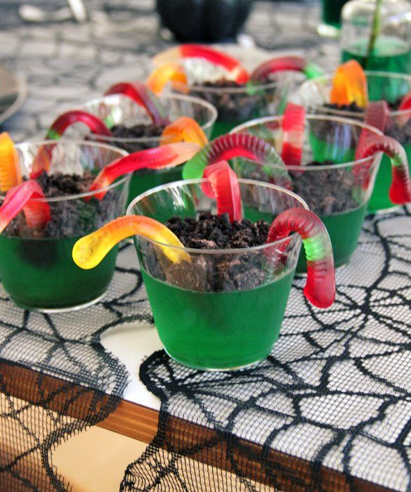 Party Idea\u0027s ~ Worm Jello,use different color Jello,red,orange - halloween treat ideas for school parties