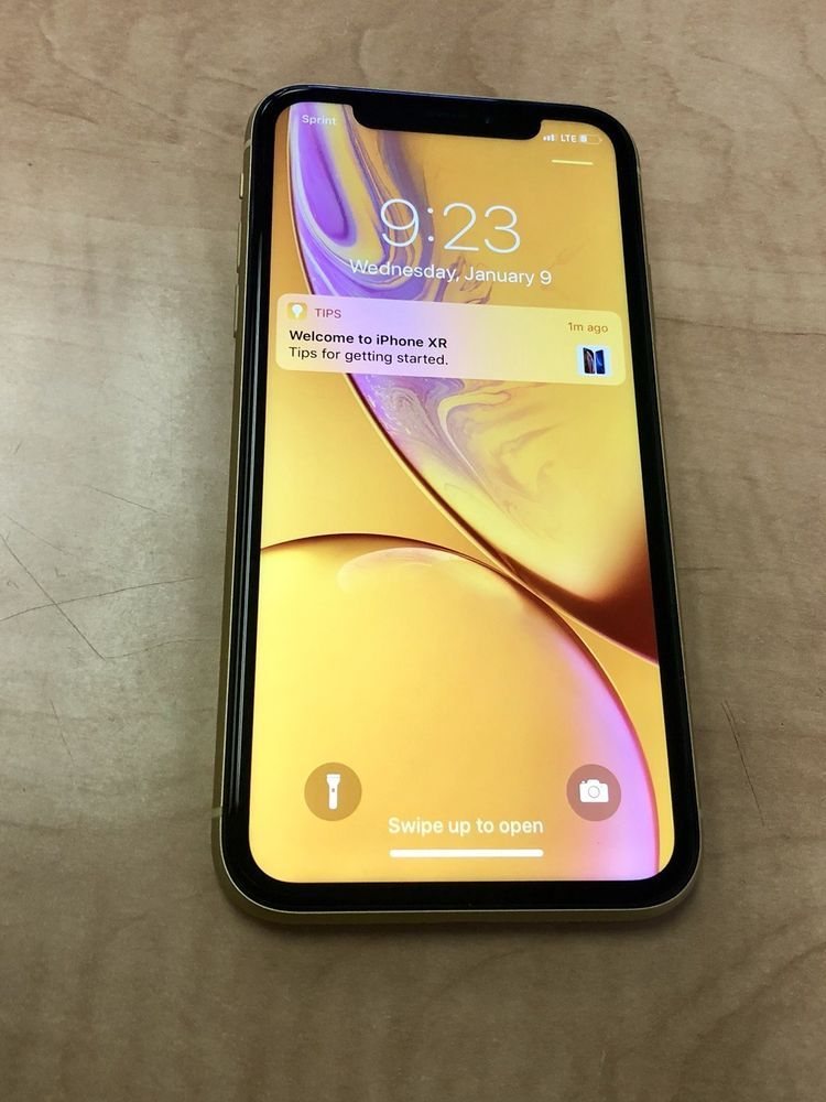 Apple Iphone Xr 128gb Yellow Sprint A1984 Apple Care Until