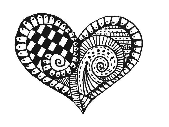 ZENTANGLE – HEART! – theraotown |Zentangle Heart Graphics