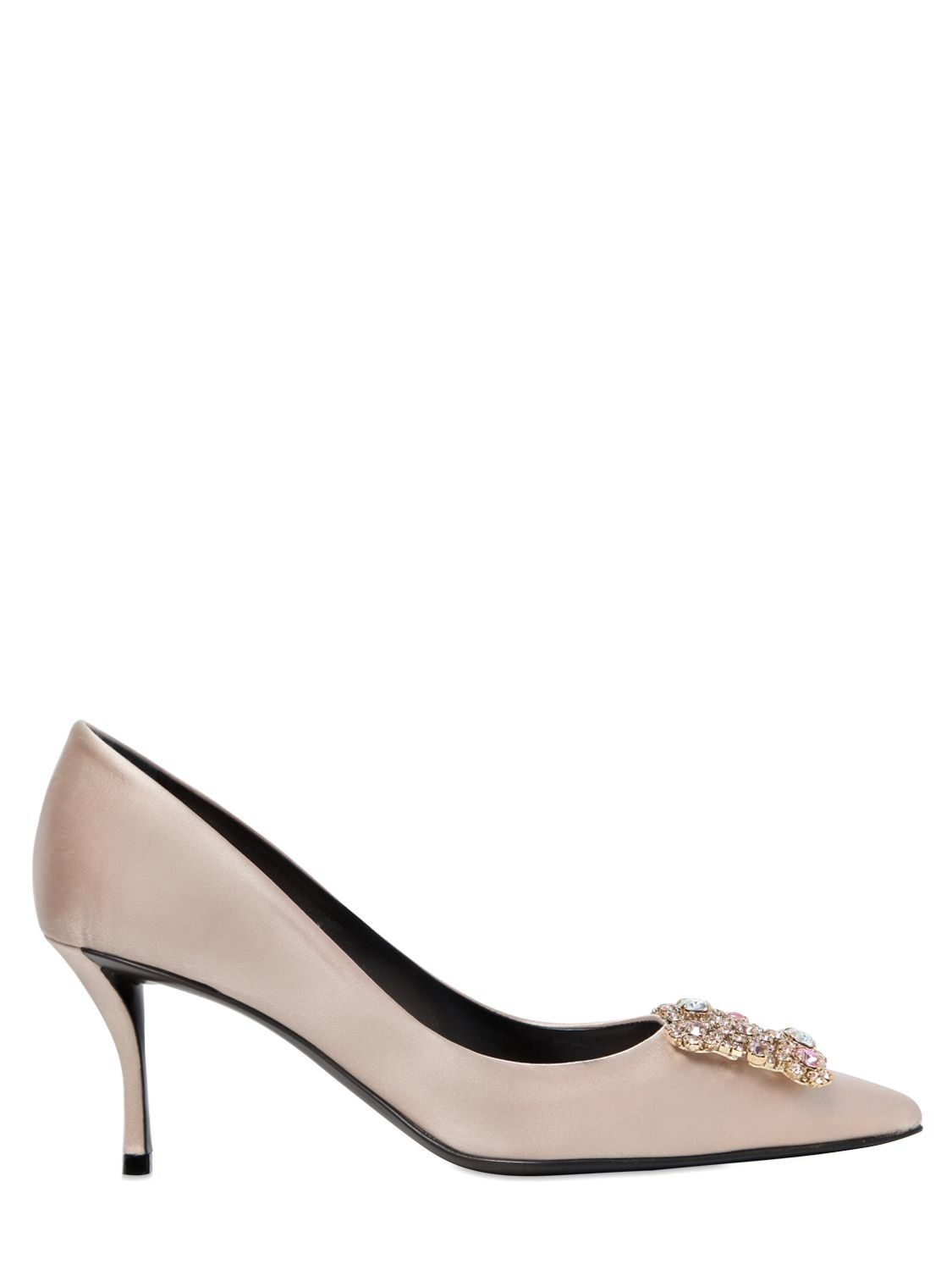 Roger Vivier65MM FLOWER SATIN SLINGBACK PUMPS