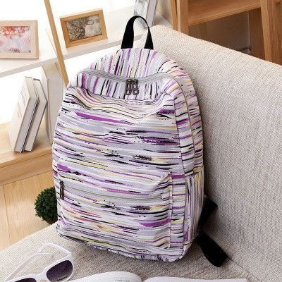 d4ecd328d8 2016 Women Canvas Backpack Leisure High Quality Colorful Striped Backpacks  School Bag For Teenager Boys And Girls Rucksack H244