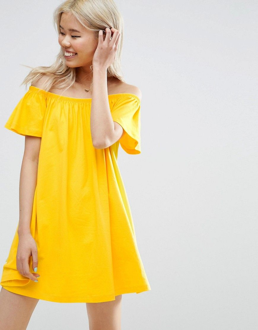 20f1e8c2dcd2 ASOS Off Shoulder Mini Dress - Yellow