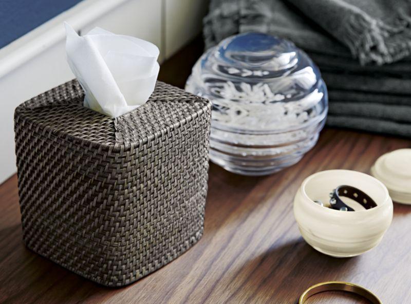 Sedona carré gris Tissue Box Cover
