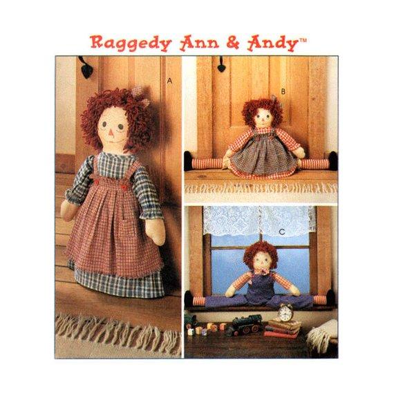 "Americana Rag Dolls 22/"" Raggedy Ann 3056 Butterick Pattern Hickory Stick and Co"