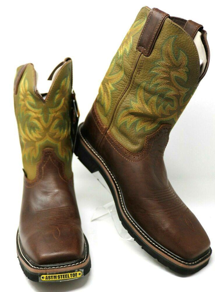 3793e1d2738 eBay Sponsored) Justin WK4688 Steel Toe Work Boots Size 10 EE Waxy ...