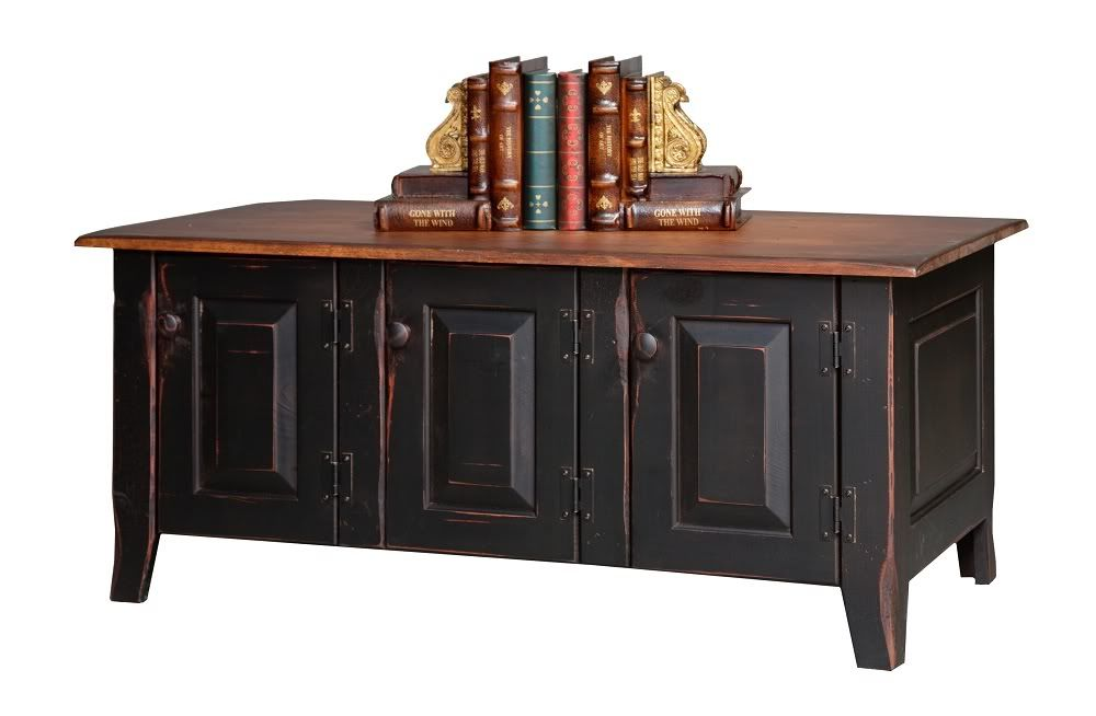 primitive furniture | Primitive Coffee Table Console Country Cottage Shaker Storage ...