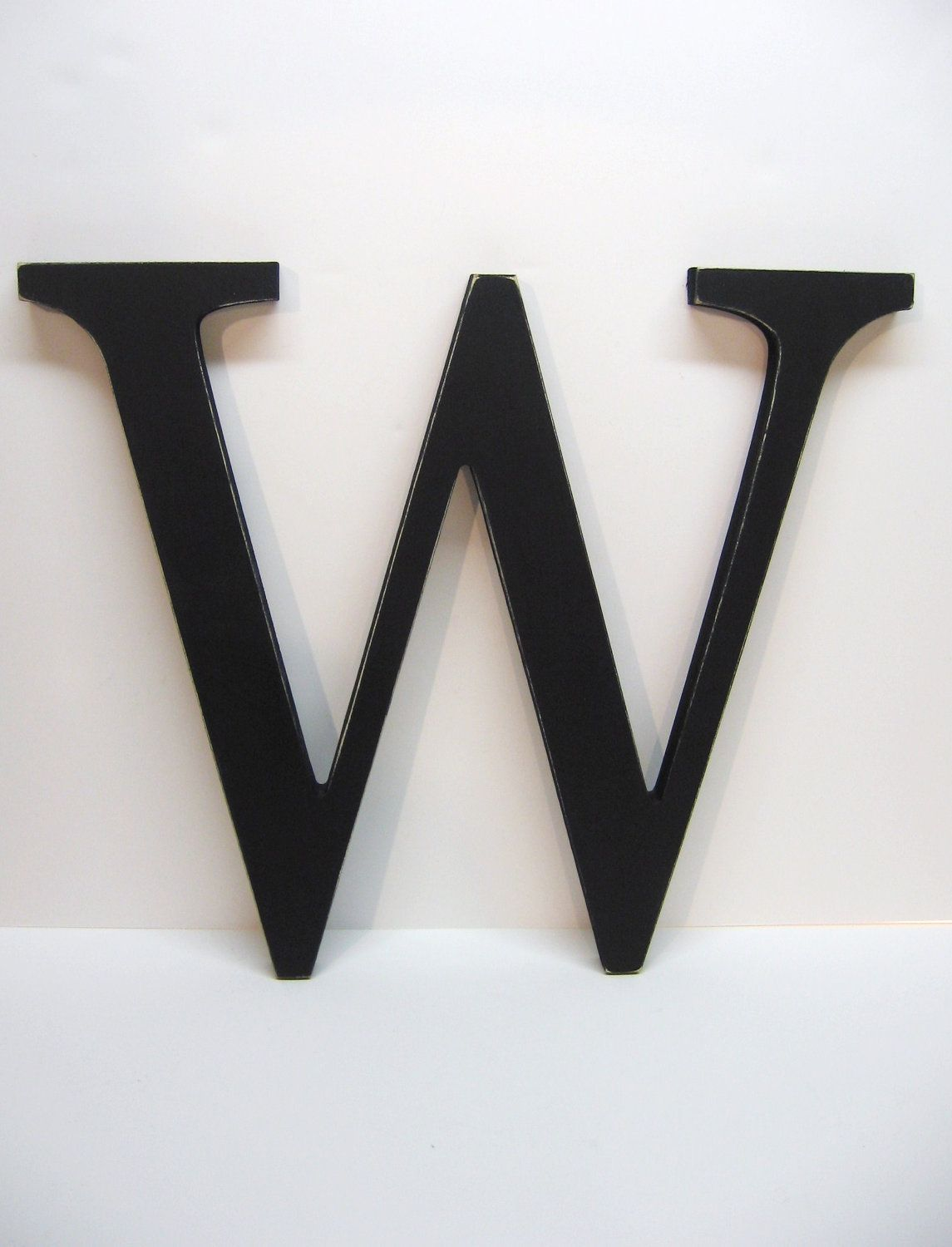 Wood Letter W Sign 15 Inch Painted Black Distressed Initial Monogram Personalized Wall Monogram Wall Decor Wood Letters Personalized Gallery Wall