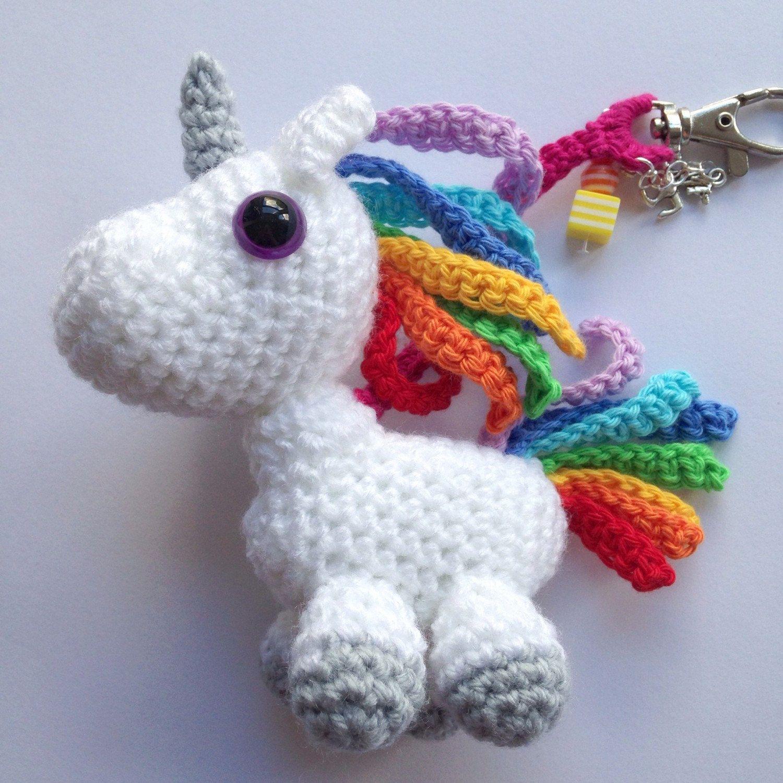 Etsy Amigurumi Patrones : Rainbow unicorn bag charm & keyring, amigurumi unicorn ...