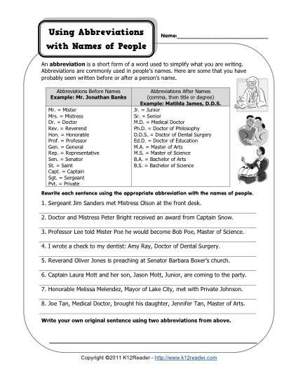 abbreviations and names of people home schooling punctuation worksheets people names. Black Bedroom Furniture Sets. Home Design Ideas