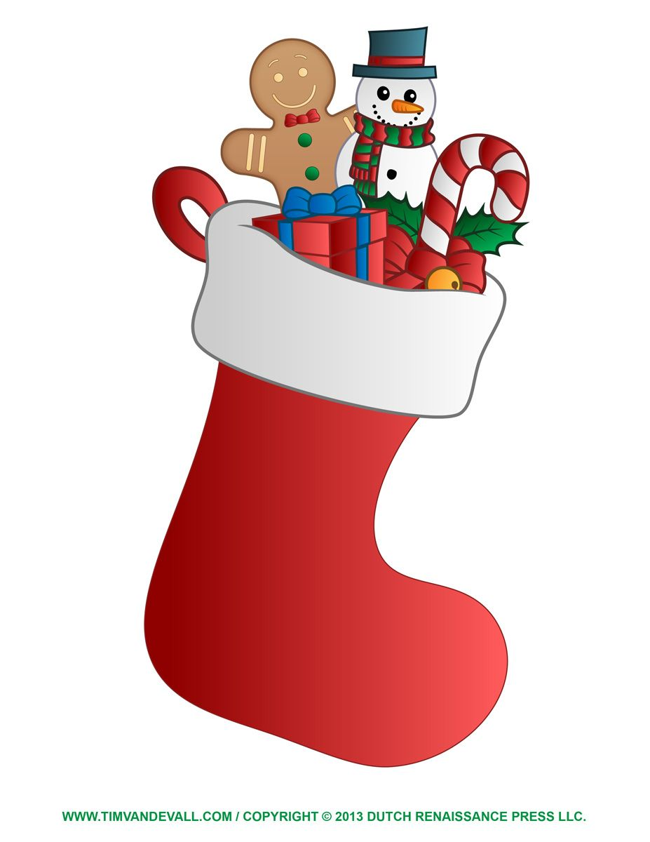 Christmas Stockings Clip Art Free Stocking Template Coloring Page Clipart