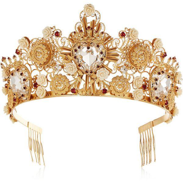 184db30b1ce0 Dolce   Gabbana Gold-tone Swarovski crystal crown