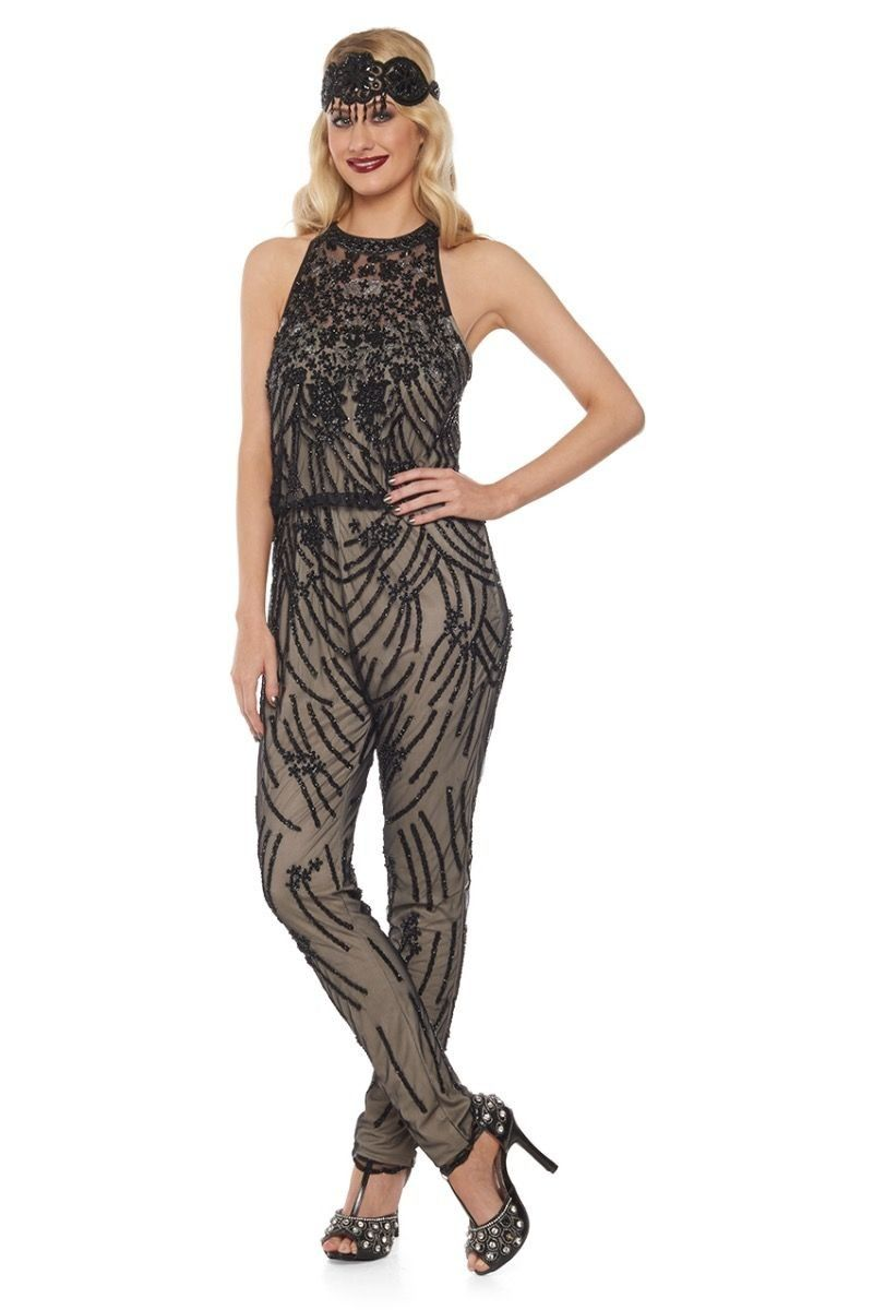 f53b6e62a526 1920s Inspired Jumpsuit in Nude Black - SOLD OUT