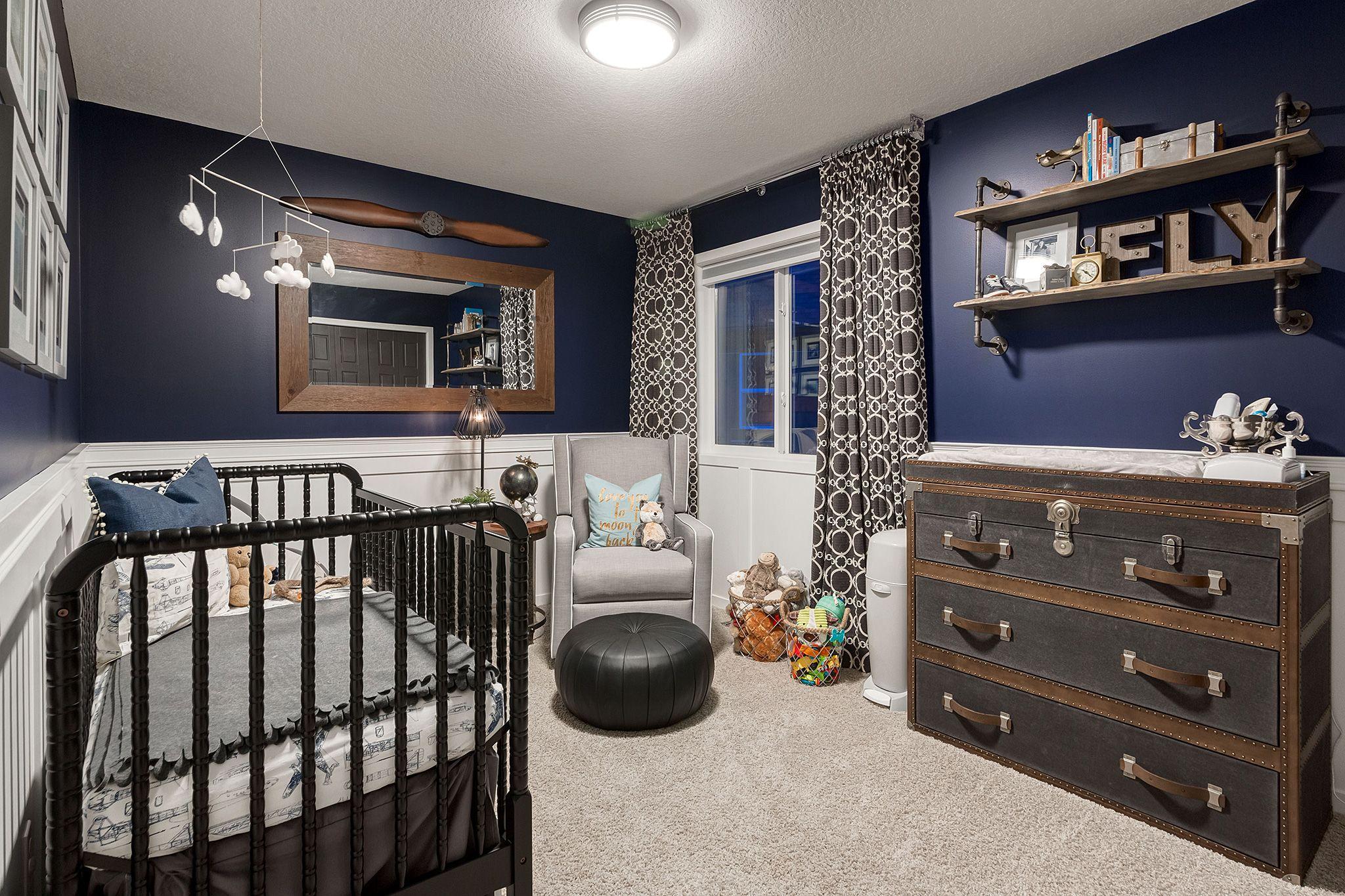 Baby Boy Nursery Airplane Inspired Navy Blue Aviation Rustic