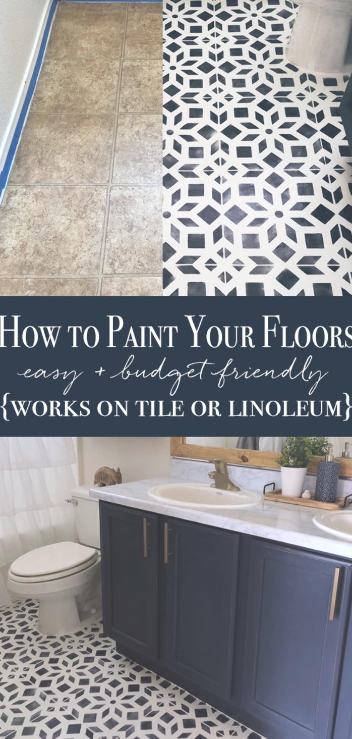 How To Paint Linoleum How To Paint Tile Painted Bathroom Floor Diy Painted Floor Bathroom Makeover Tile Stencil Affordable Diy Linoleum Bodenbelag Lehner