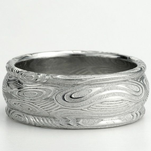 Damascus Mens Wedding Band In Stainless Steel 8 5mm Sz 10 5 Raindrops On Water Design For Or Fashion One Of A Kind Ring With Rails