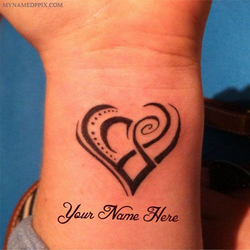 Heart Tattoo In Hand With Name Set DP. Print Lover Name ...