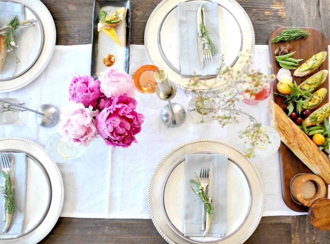 "Shop Kenaf Fringed Table Runner, 22 x 108"", Ivory, Antique Silver Charger, Swirl Melamine Dinnerware - Stone, Hand-Woven Linen Hemstitch Dinner Napkin, 22"", Set of 4, White and more"