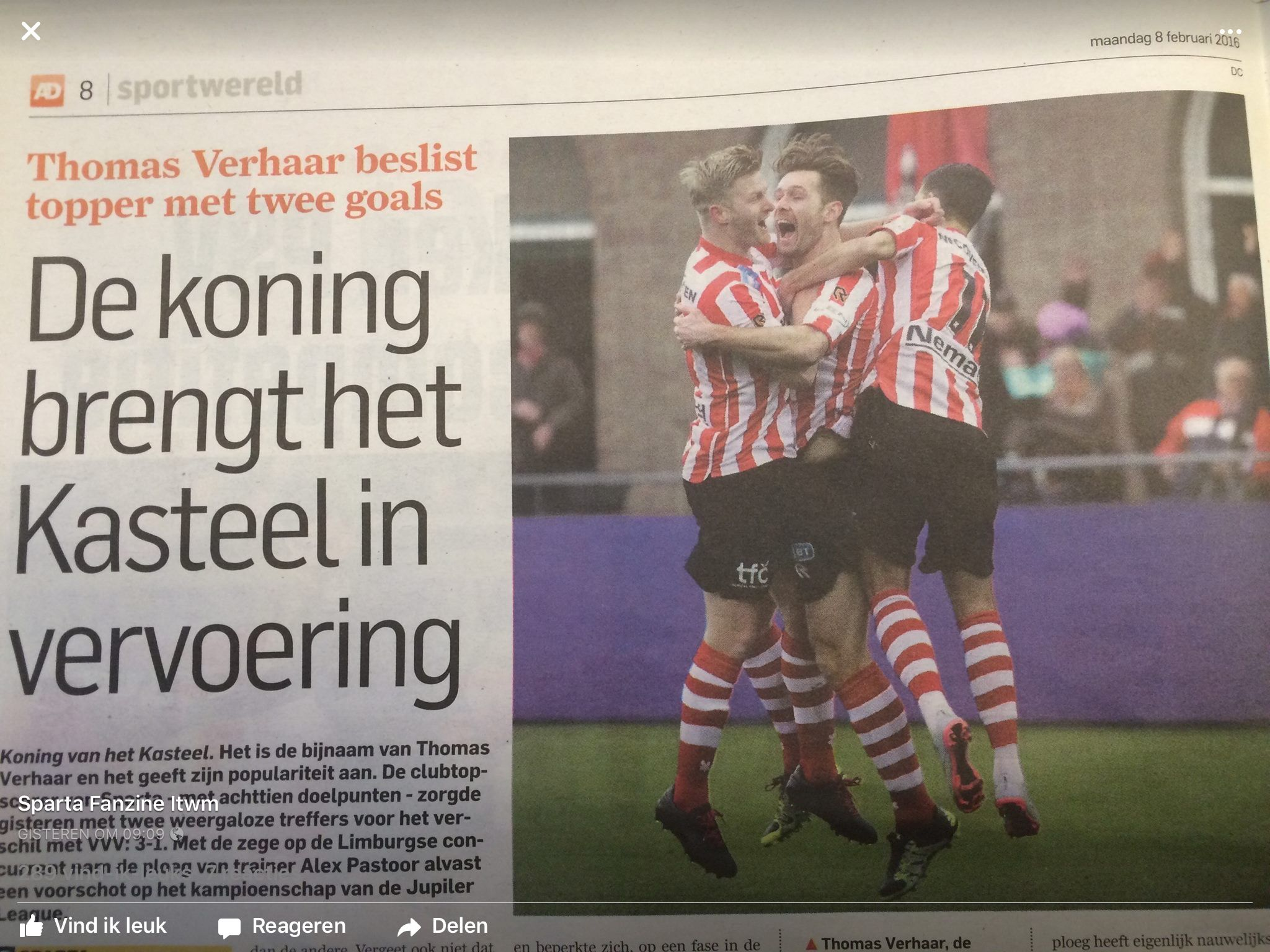 Rotterdam Vvv Kantoor : Sparta wint met van vvv doelpunten van thomas verhaar in