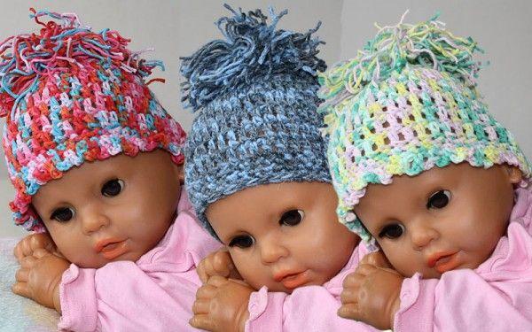 Baby Mütze mit großem Puschel