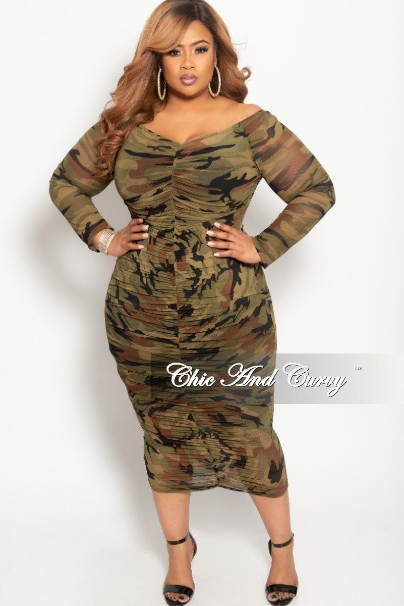 8d80844a1d1e6 Plus Size BodyCon Sheer Ruched Dress in Camouflage Print – Chic And Curvy
