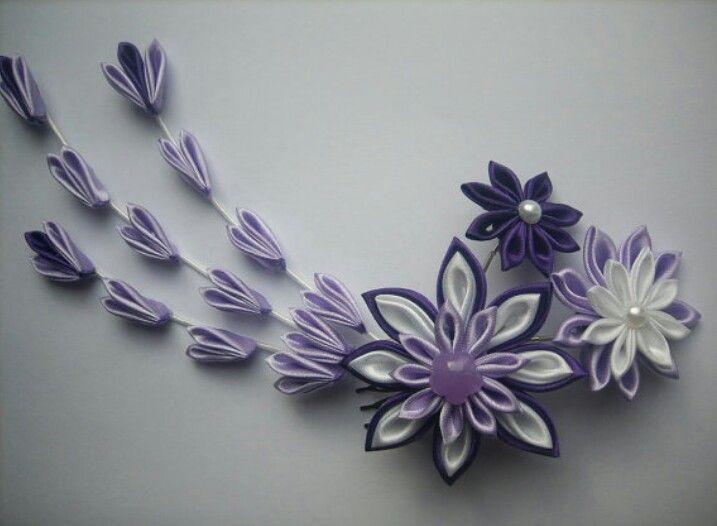 Fabric Flower flores de tela lila
