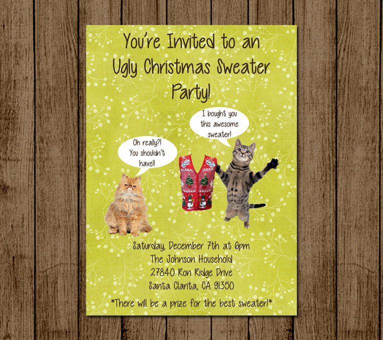 Ugly Sweater Invitation Christmas Party Invite Tacky Sweater Party ...