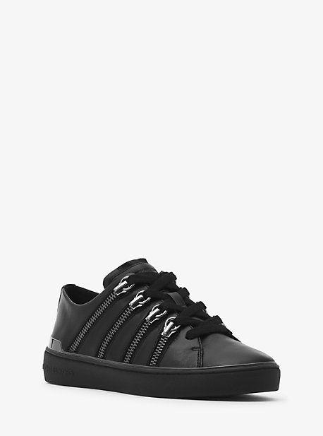 Michael Kors Chelsie Zipper-Trim Leather Sneaker  13a71e475af