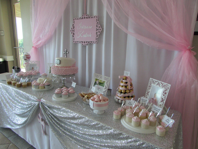 Baby Girl Pink Baptism Dessert Table Cake Table Baptism