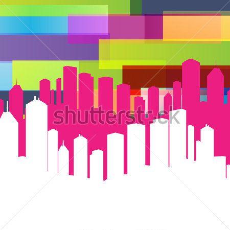 Красочная Панорама Города Векторный Фон С Пространством ...