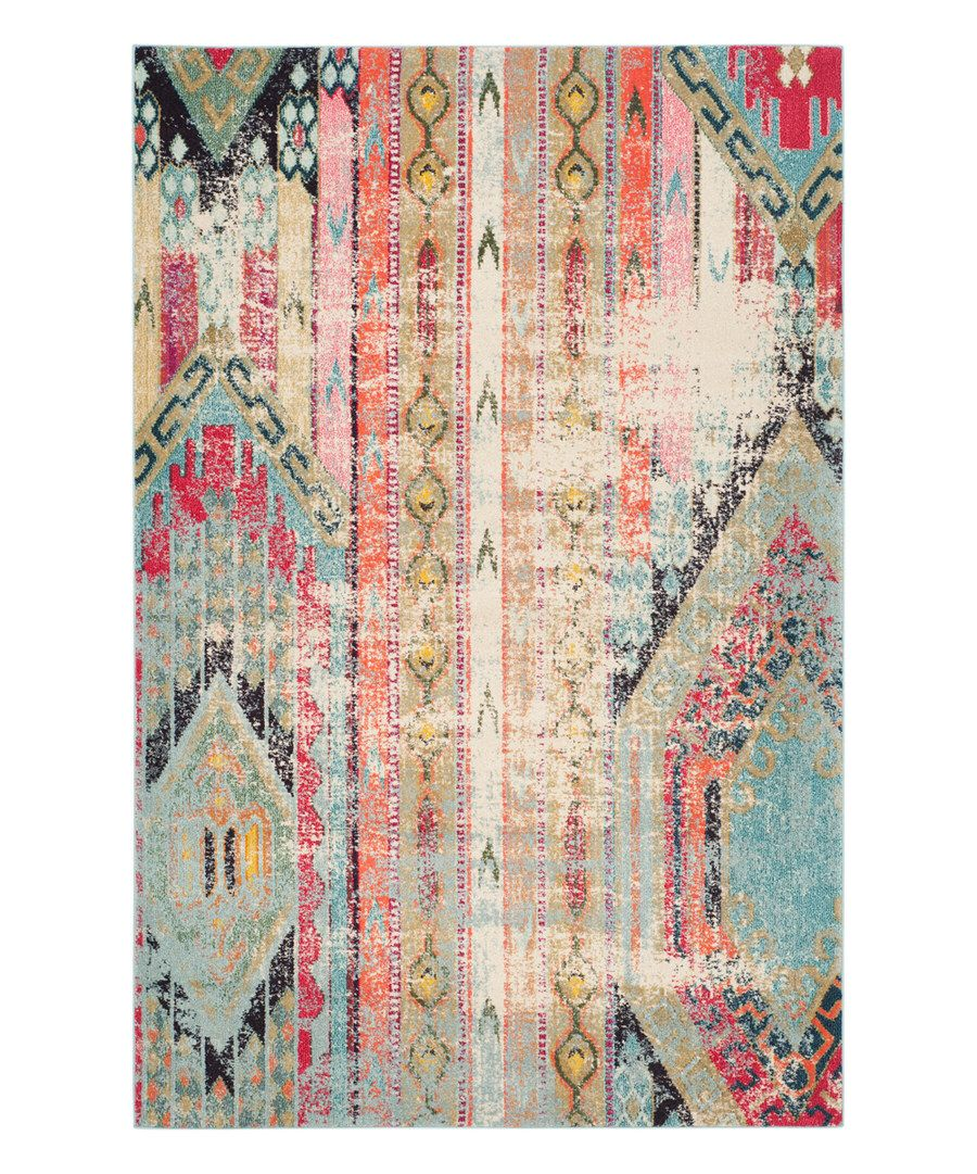 Look at this Light Blue & Beige Asther Rug on #zulily today!