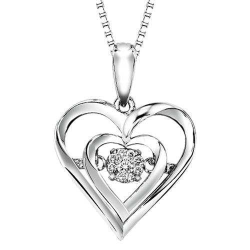 Vibrating diamonds rhythm of love diamond heart pendant in sterling vibrating diamonds rhythm of love diamond heart pendant in sterling silver with vibrating diamond center aloadofball Images