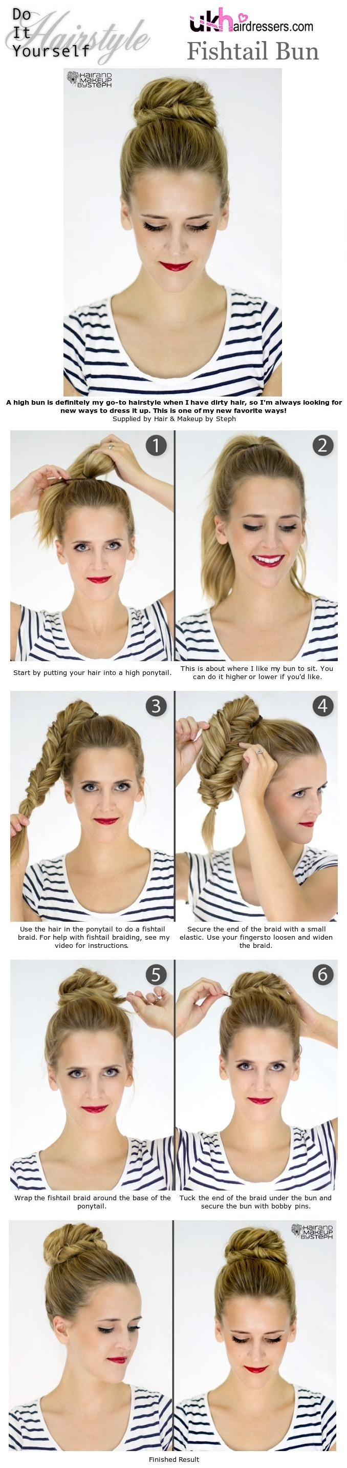15 easy no heat hairstyles for dirty hair fishtail bun fishtail high bun solutioingenieria Choice Image