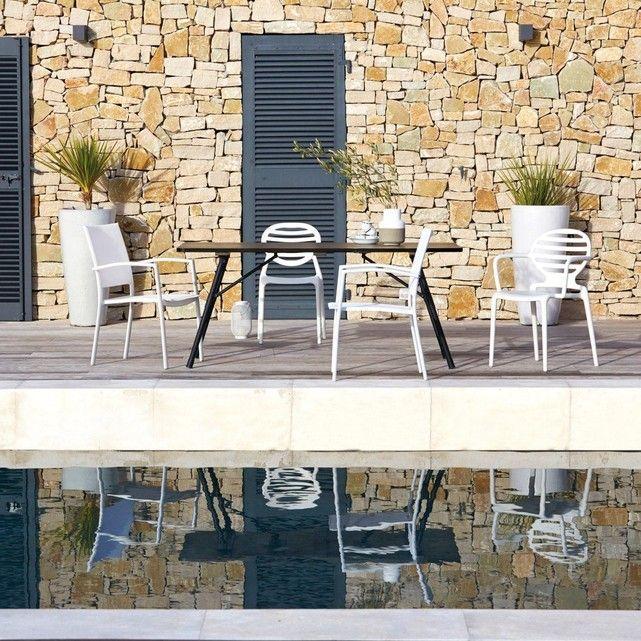 Table de jardin pliante bois et métal Sohan | Terrasse ameublement