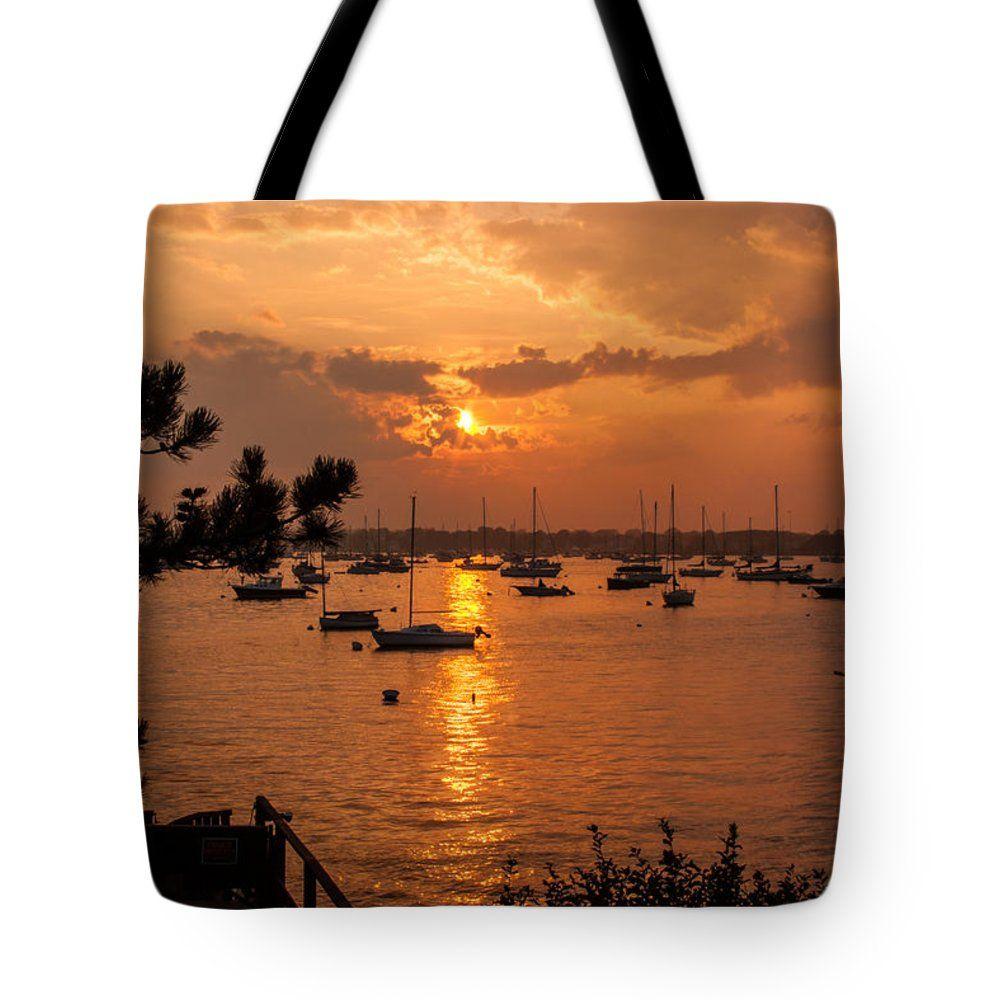 """Sunset on Salem harbor Tote Bag 18"""" x 18"""" by Jeff Folger"""