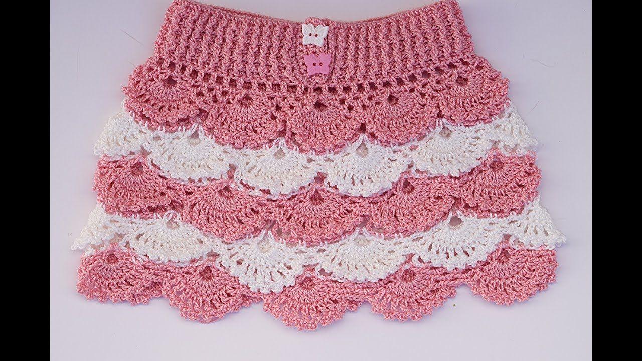 Falda a crochet para niña paso a paso con patrones dentro - YouTube ...