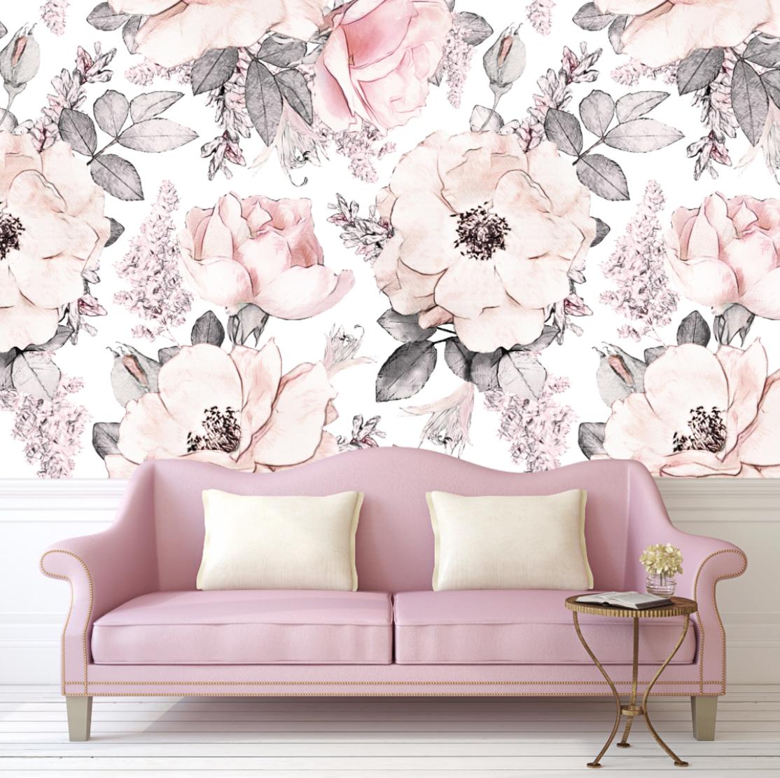 vintage floral wall decals urban walls - HD1024×1024