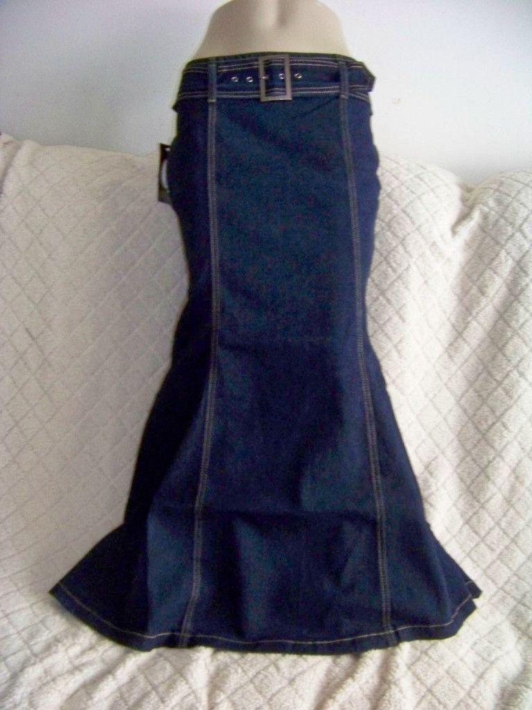 NWT W/belt Dark Stretch long Mermaid denim jean skirt juniors size ...