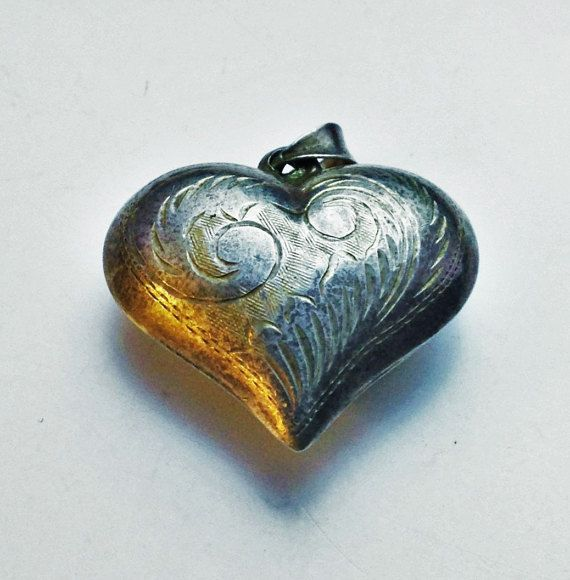 Large Puffy Heart, Heart Pendant, Sterling Puffy  Necklace,Retro Heart Necklace,80s Puffy Heart, Bohemian Heart, Etched Heart, Vintage Heart