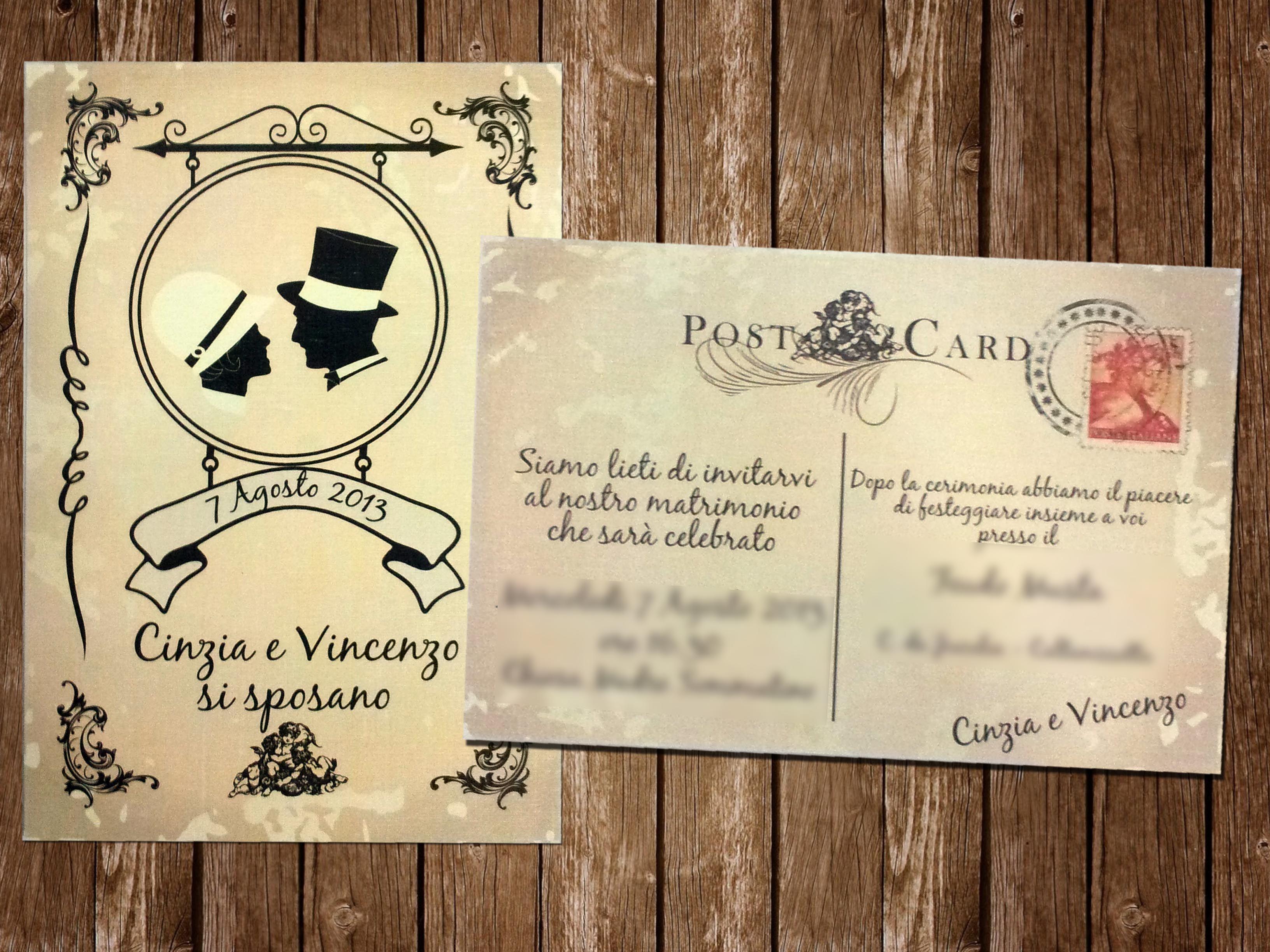 Partecipazione Vintage Cartolina Partecipazioni Nozze Nozze Decorazioni Matrimonio