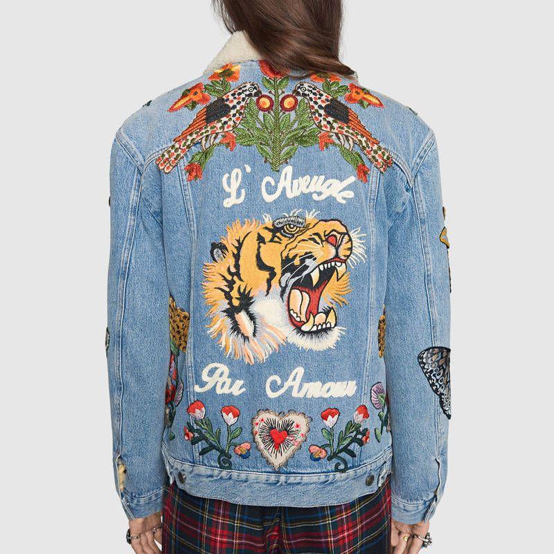 Gucci Veste en jean avec broderies Detail 5   Stylisme Italien ... 4788fe1083a